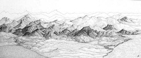 Panorama des montagnes du Labour (Pays Basque). Encre de Chine, Format A3