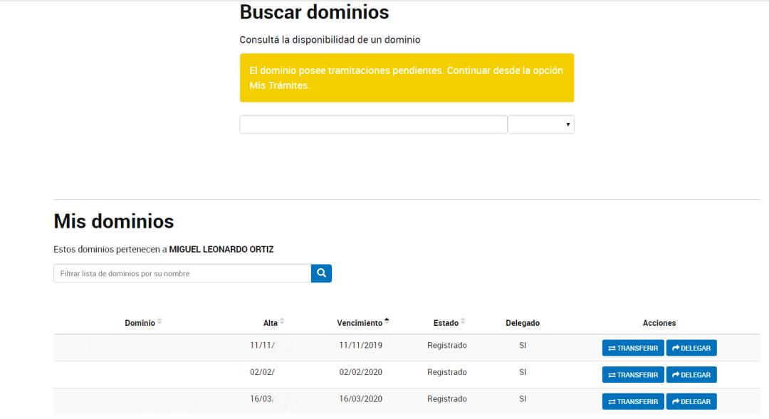 Error delegar dominio en NIC.AR