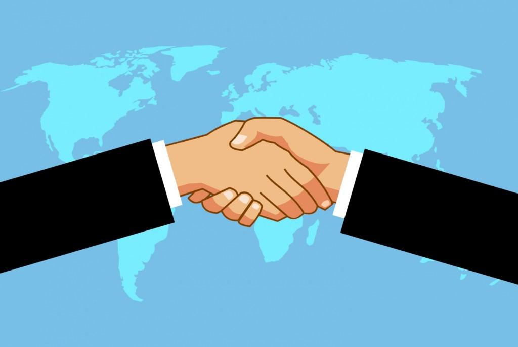 negocios internacionales apretón de manos talento