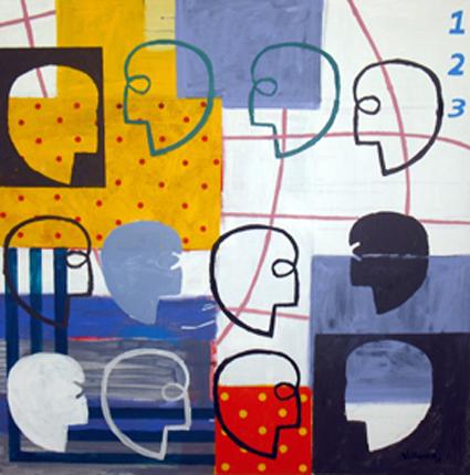 De la gente que pasa a tu lado. Acrílico sobre lienzo. 130x130 cm.2009