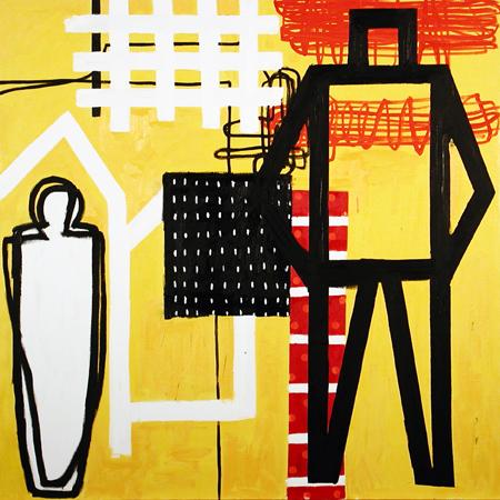 donde habitan los hombres que no miran atrás De que guerra viven los artistas II _Óleosobre lienzo_130 x 130 cm_2004