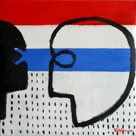Serie La Palabra El juego de los espejos II. Acrílico sobre lienzo. 35x35 cm. 2009