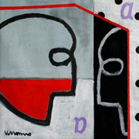 Serie La Palabra El juego de los espejos III. Acrílico sobre lienzo. 35x 35 cm. 2009