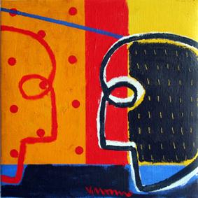 Serie La Palabra El juego de los espejos IV. Acrílico sobre lienzo. 35x35 cm. 2009