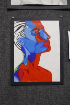 Ella Solberg's collection of art in the showcase.