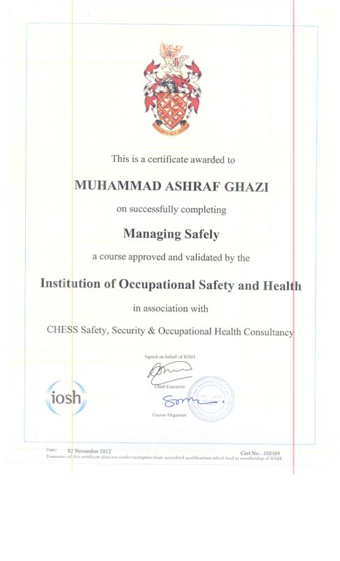 IOSH Training & Certificate