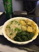 My first time sitting in first class going to Denmark. Curry rice and veggies for my entrée!