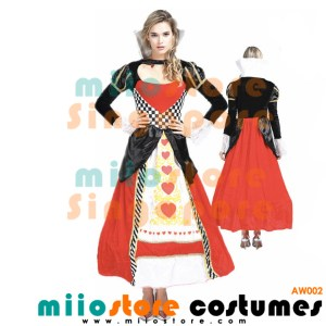 AW002 - Queen of Hearts - Alice in Wonderland Costumes Singapore - miiostore Costumes Singapore