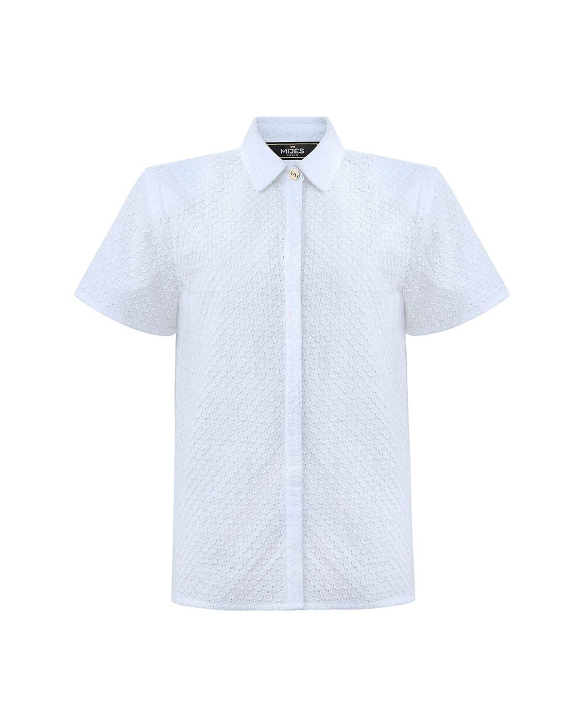 Chemise Manches Courtes en Broderies Anglaises