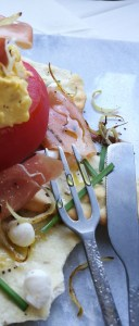 gevulde tomaat en Ganda ham