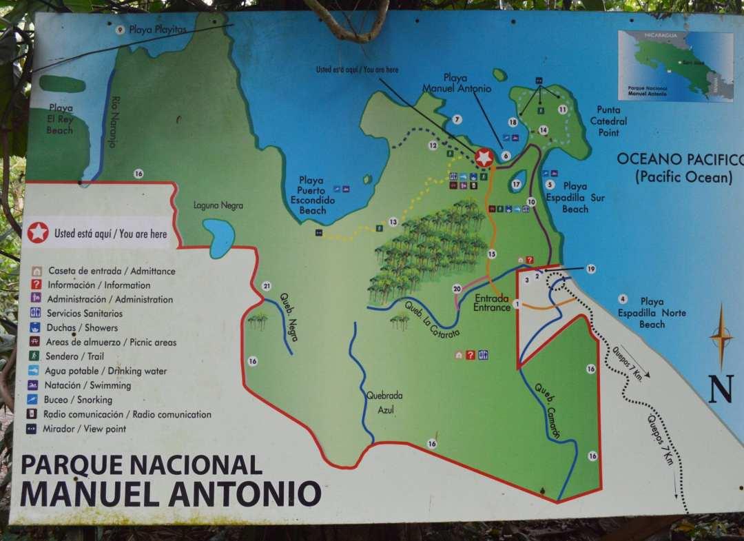 Manuel Antonio map Costa Rica