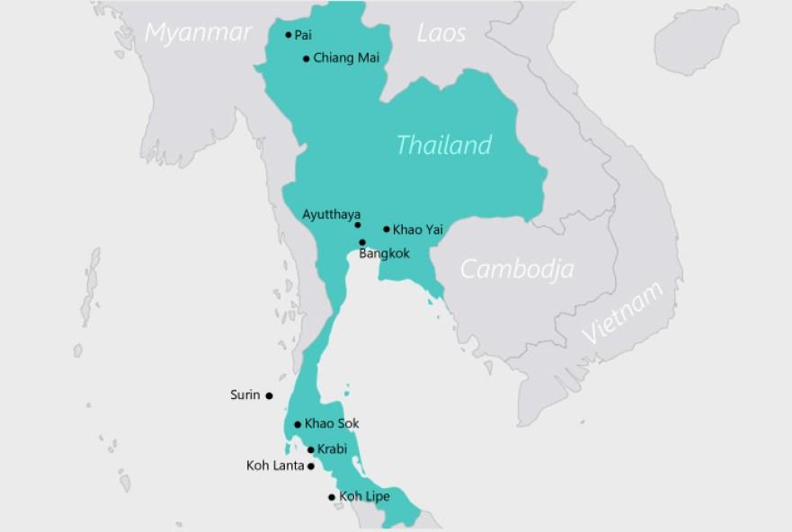 Map backpack route door Thailand