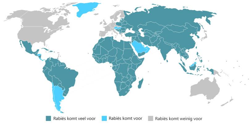 WHO 2008 Rabiës wereldkaart