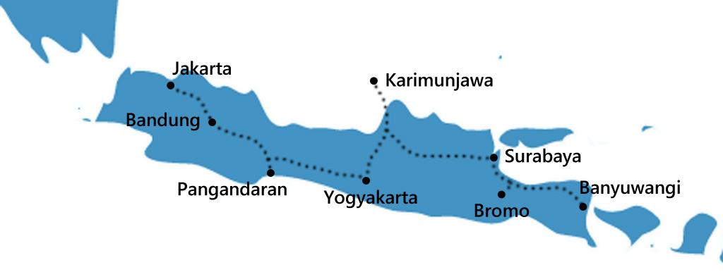 Reisroute Java itinerary Indonesie