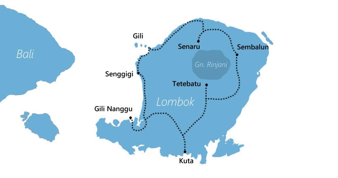 Reisroute Lombok Indonesië