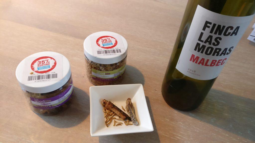 Sprinkhanen, wormen en wijn
