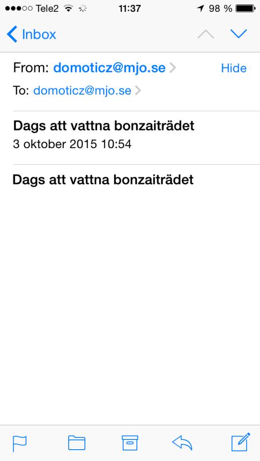 Domoticz mailnotifiering iphone