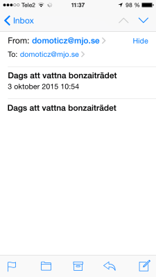 Domoticz mailnotifiering iphone