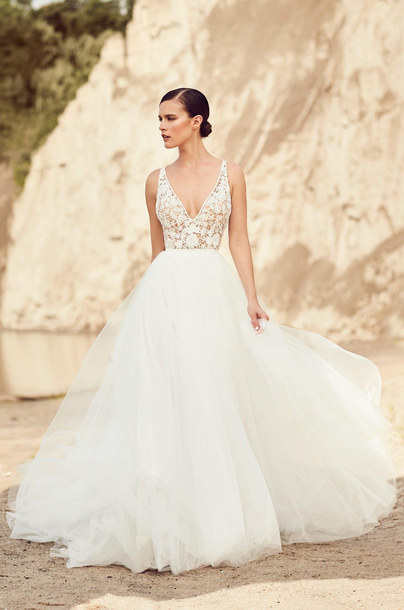 Flowing Tulle Wedding Dress  Style 2106  Mikaella Bridal