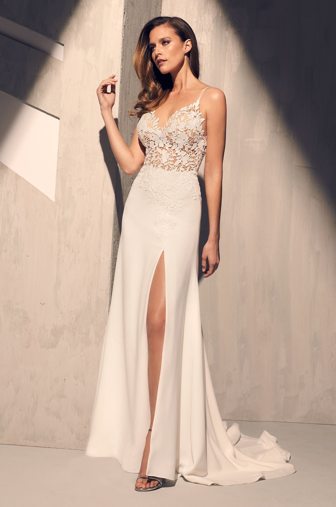 Sheer Floral Bodice Wedding Dress  Style 2208  Mikaella Bridal