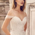 Draped Tulle Sleeve Wedding Dress Style 2228 Mikaella Bridal