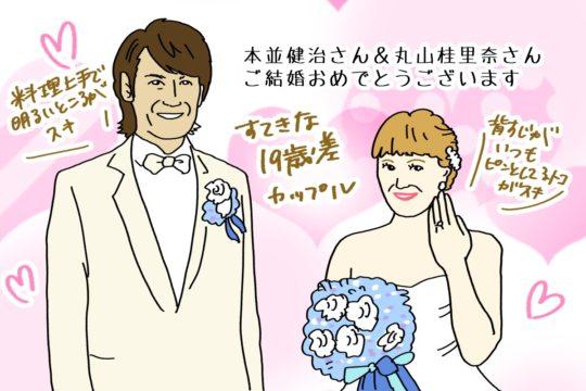 本並健治さんと丸山桂里奈さんの結婚ツーショット