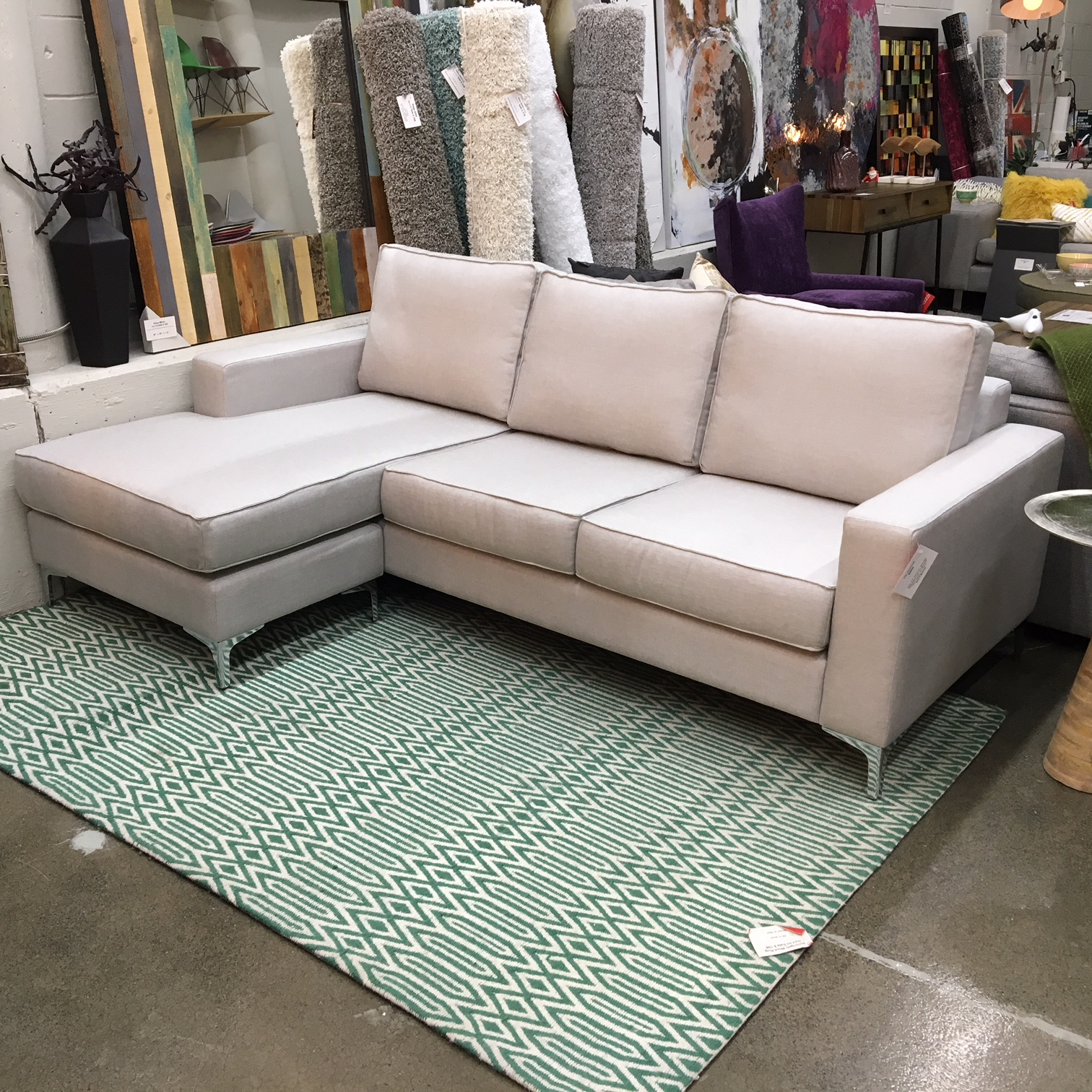 condo sized sectional sofa ottawa corner lounge with chaise and bed flip mikaza meubles modernes montreal modern