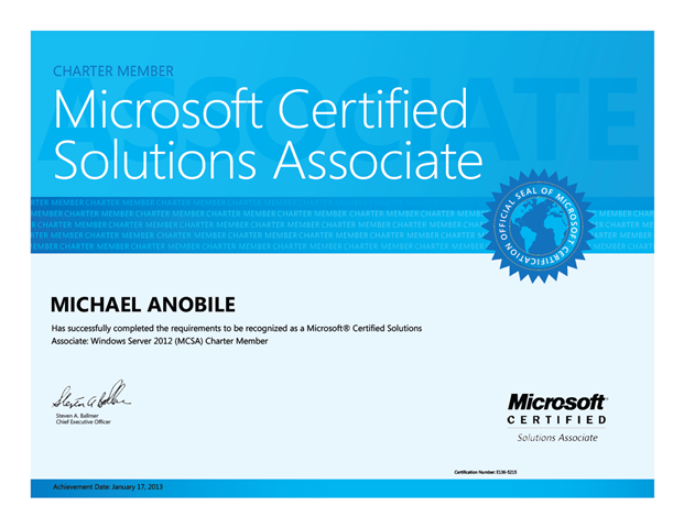 New Certification: MCSA Windows Server 2012 Charter Member ...