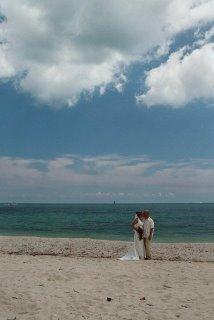 Chris & Chris Powell on the beach