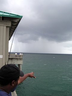 Begining of a funnel cloud and waterspout