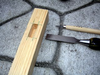 A wood mortise