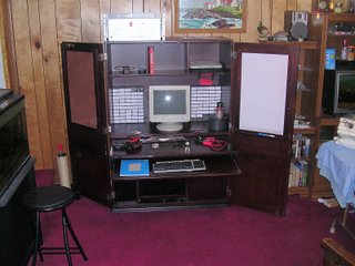 pull out keyboard tray and work surface in electronics hutch