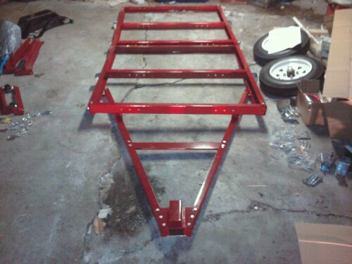 both halves of the folding trailer and the tounge assembled