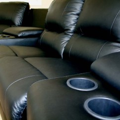 Theater Chairs With Cup Holders Leather Tub Home Sectional Genuinue Real Recliner
