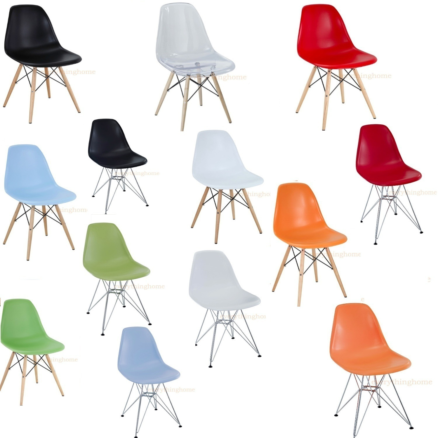 eames style plastic chair best outdoor lounge chairs 2018 eiffel shell wood dowel or wire leg base side dining details about 7 colors