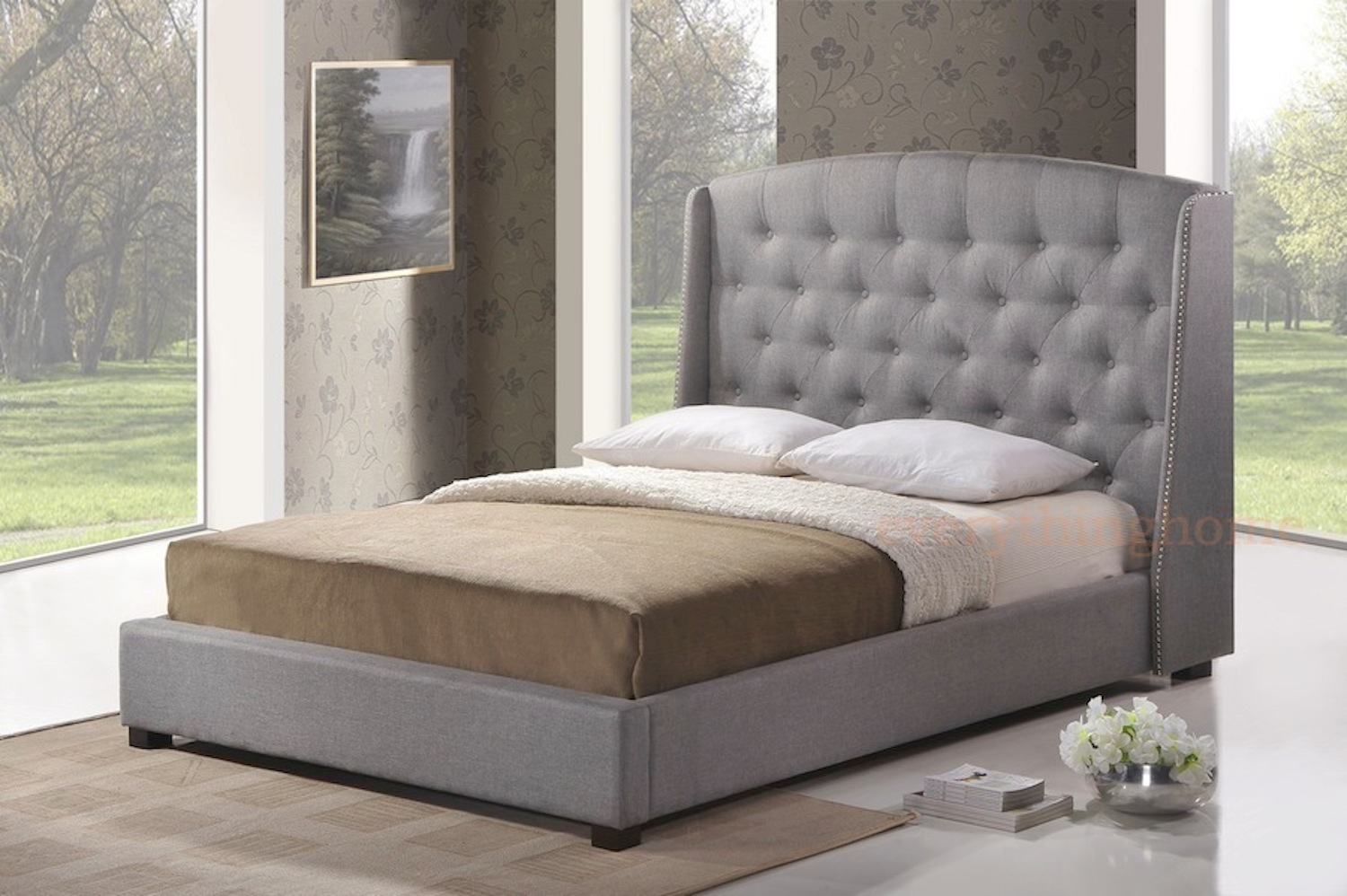 GRAY GREY LINEN QUEEN PLATFORM BED FRAME W/ TUFTED