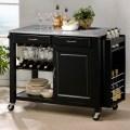 Modern black kitchen island cart cabinet wine bottle glass rack