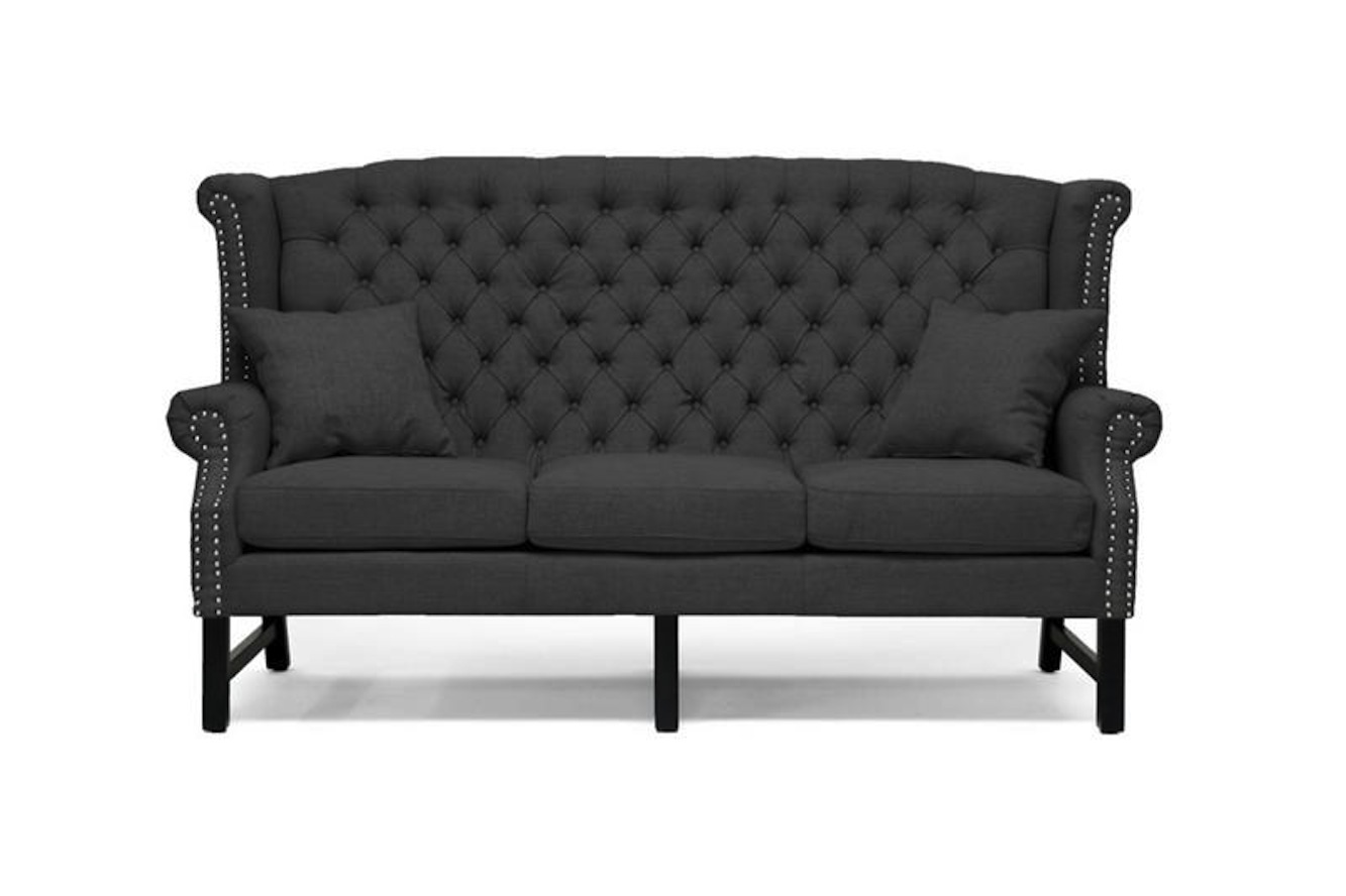gray linen tufted sofa couch singapore modern grey button scroll back love