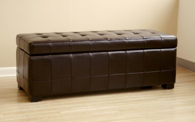 leather ottoman storage bench rectangle