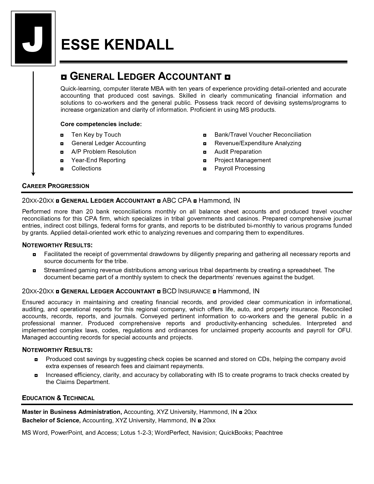 Professional Accounting Resume Templates General Ledger Accountant Resume Mike 39s Blog