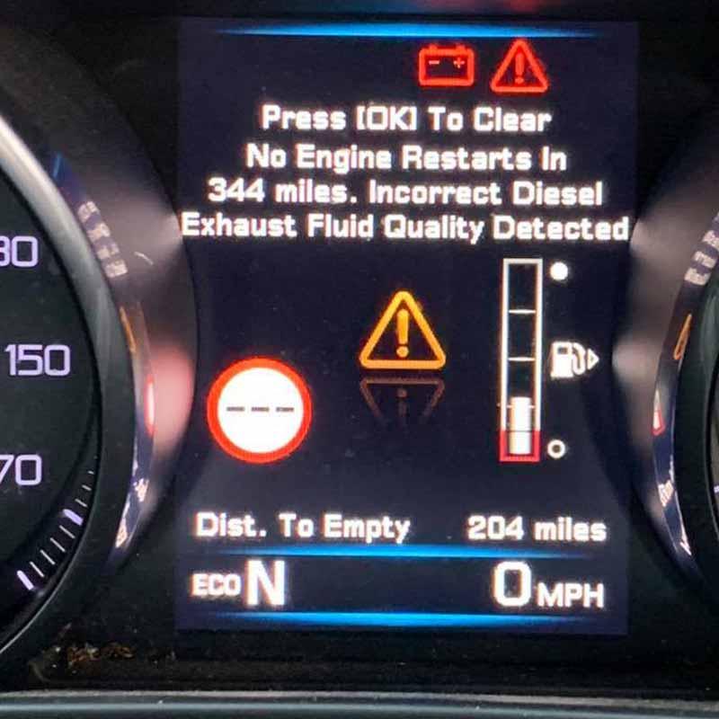 jaguar incorrect diesel exhaust fluid