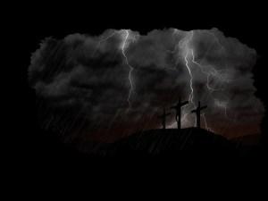dark sky with lightning at Calvary
