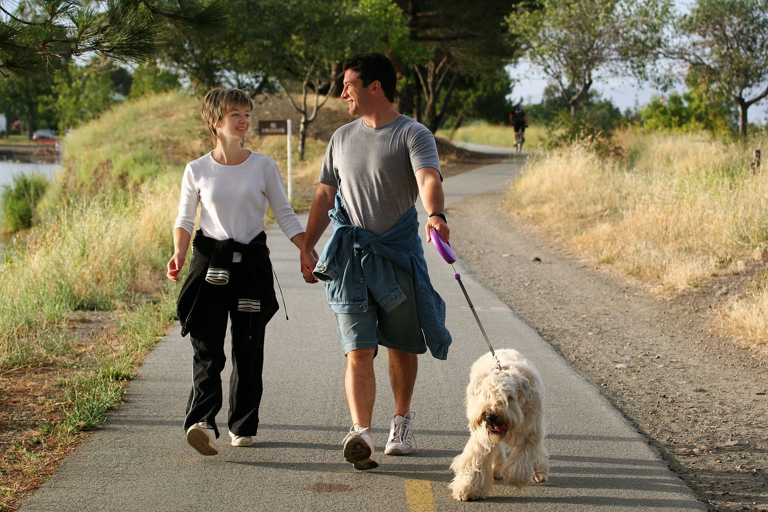 Couple relationship walking dog