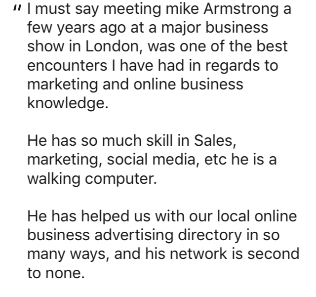 Michael Armstrong Testimonial