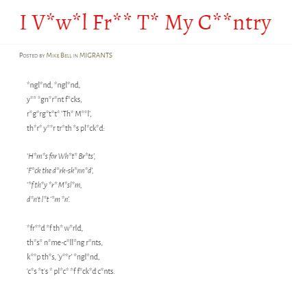 I V*w*l Fr** T* My C**ntry