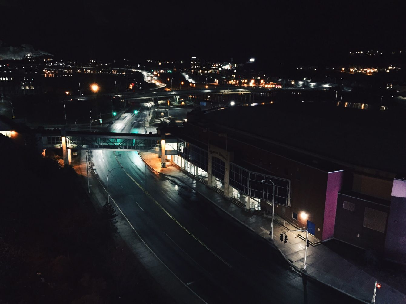 Click thumbnail to see details about photo - Harbour station road at night saint john