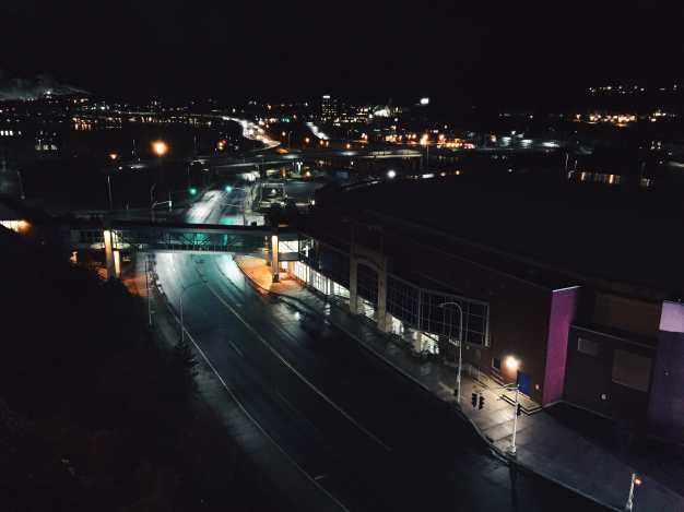 Harbour station road at night saint john
