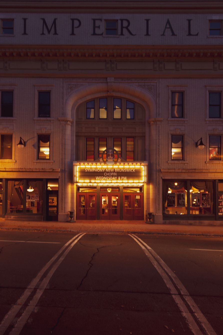 Click thumbnail to see details about photo - Imperial Theatre Front at Night Vertical Photograph