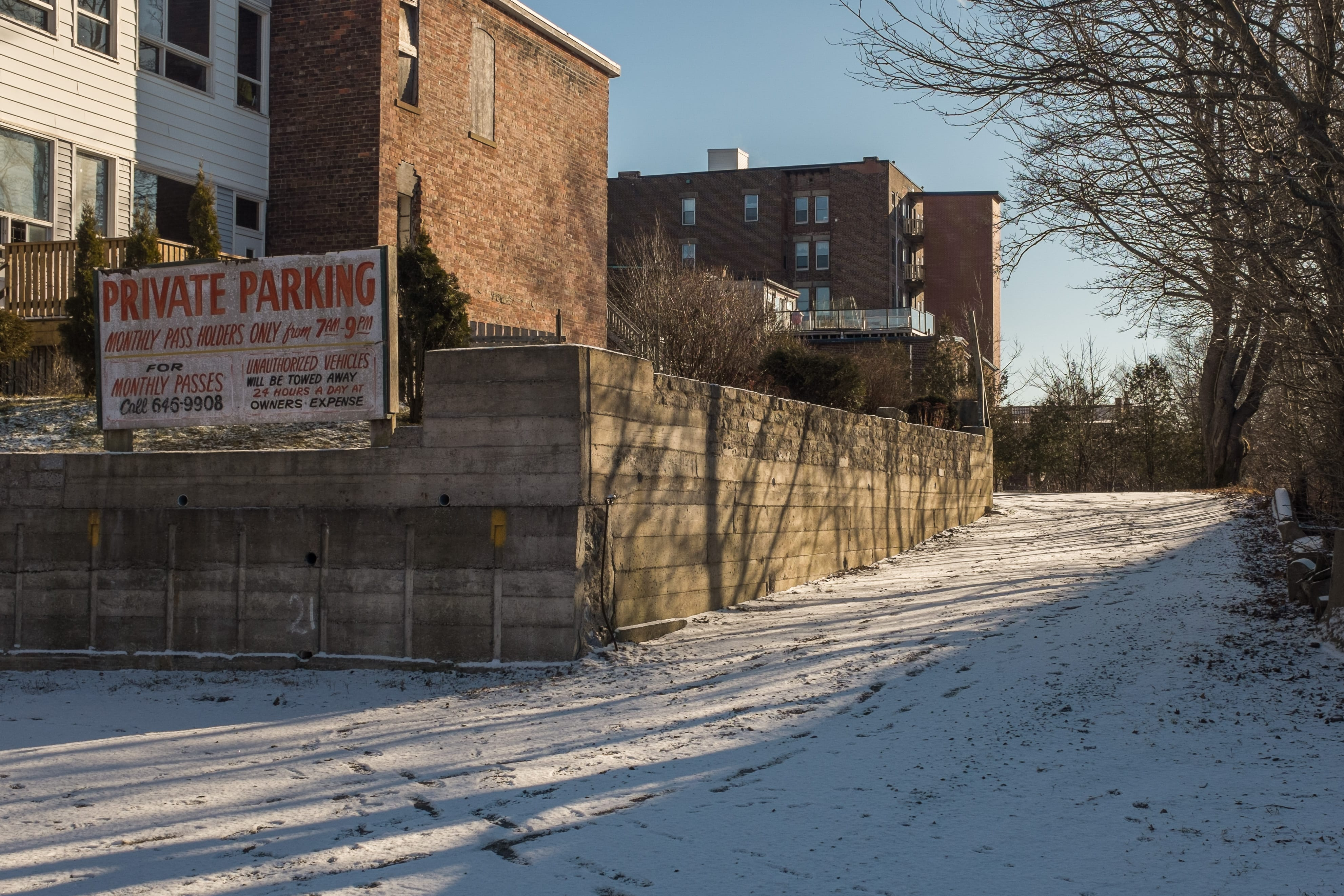 A photograph depicting Private Parking Lot in Winter Saint John