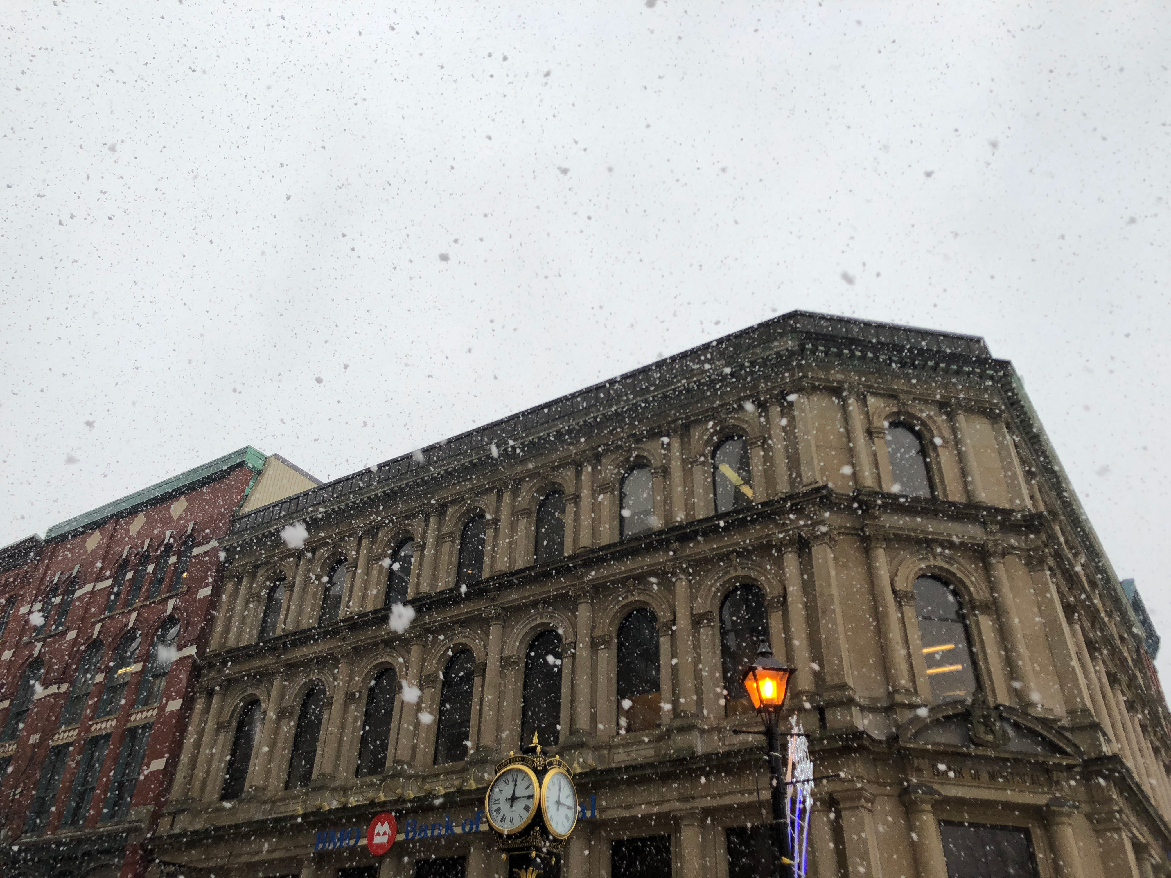 A photograph depicting Snow Falling Down on King Street Saint John